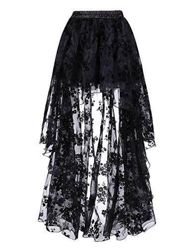 FeelinGirl Damen Amelia Gothic Steampunk gekräuselten Kuchen Rock Styles Low High Gothic Button Rock,Schwarz,M(EU 38-40,Taille 68-72cm)