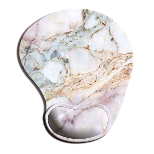 Dooke Ergonomic Mouse Pad with Wrist Support, Cute Mouse Pads with Non-Slip Rubber Base for Home Office Working Studying Easy Typing & Pain Relief Marble