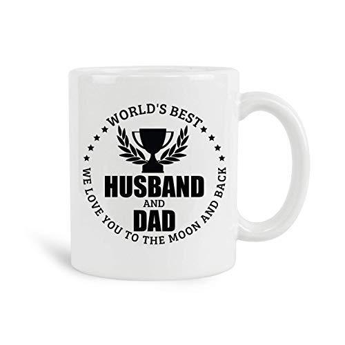 El mejor esposo y papá del mundo, te amamos hasta la luna y la espalda Taza, tazas de café blancas de cerámica, regalos para hombres, regalos del día del padre, el papá más grande del mundo con citas