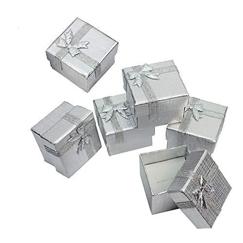 Raybre Art® Cajas de Regalo de exhibición de joyería de 30 Piezas Cajas de Plata cuadradas Caja de 30 para Regalo Actual