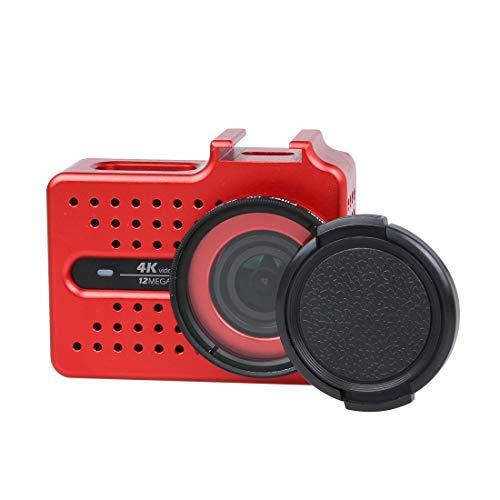 SNUIX Carcasa Protectora de Carcasa de aleación de Aluminio CNC con Filtro UV y Tapa Protectora de Lente for cámara de acción Deportiva Xiaomi Xiaoyi Yi II 4K (Negra). (Color : Rojo)
