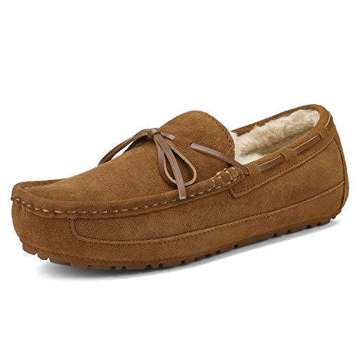 DREAM PAIRS Men's Au-Loafer-02 Tan Faux Fur Slippers Loafers Shoes Size 13 M US
