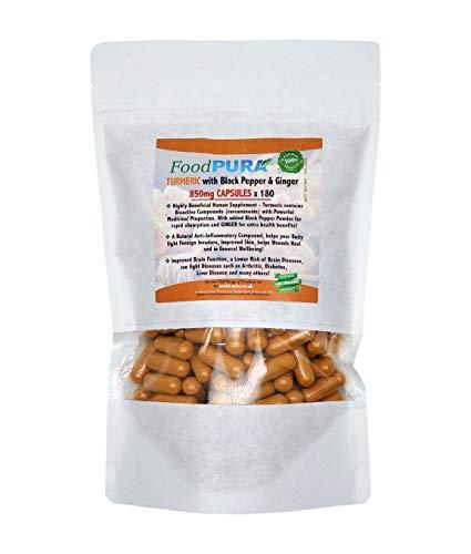 Turmeric Curcumin with Organic Black Pepper & Organic Ginger - 180 Vegan Capsules - HIGH Potency