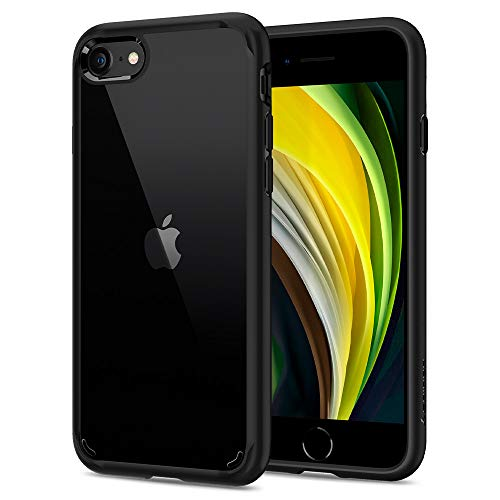 Spigen Ultra Hybrid 2 Kompatibel mit iPhone SE 2020 Hülle, iPhone 8/7 Hülle Einteilige Transparent Schutzhülle Case Black 042CS20926