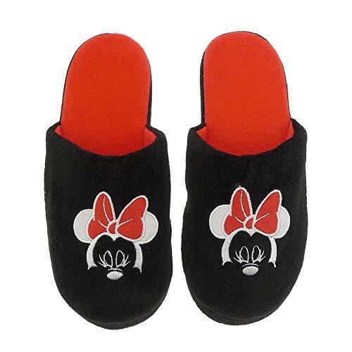 Hausschuhe Damen weich Disney Minnie Mouse schwarz warm Kinder Schlappen Slipper (39-42) EU