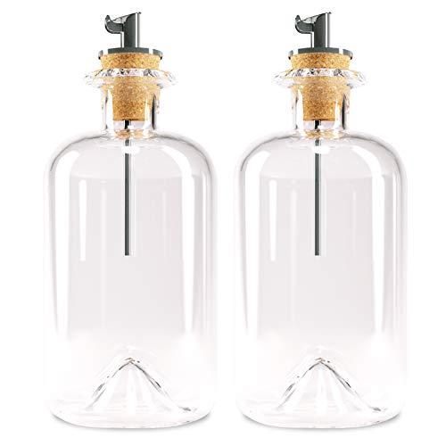 Lifestyle Lover Dispensador de aceite y vinagre de farmacia botella de cristal con boquilla de acero inoxidable para aceite y vinagre, 350 ml