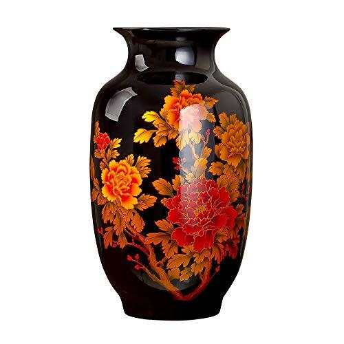 ZYG222 Classic Koninklijke Grote Zwarte Keramische Decoratie Bloemenvaas Voor Thuis Office Decor
