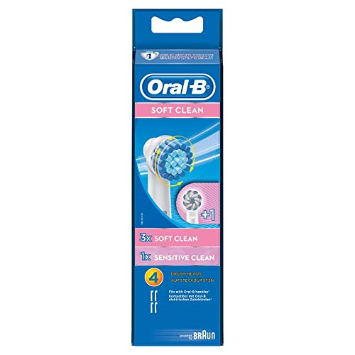 Oral-B Soft Clean Aufsteckbürsten, für eine sanfte Reinigung am Zahnfleischrand, 3 Stück + 1 Sensitive Clean Aufsteckbürste