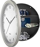 Reloj de pared, caja fuerte de desvío, compartimento oculto de 10 pulgadas, reloj analógico que funciona con pilas, con almacenamiento interior secreto para joyas, efectivo, profundidad de 3 pulgadas