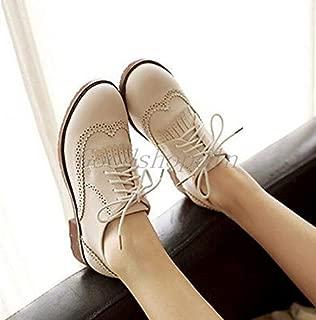 FidgetGear Womens British College Brogue Shoes Lace Up Casual Oxford Wingtip Block Pumps Beige Tassel US5