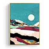 zzzddd Leinwand Bild,Japanische Landschaft Leinwand Gemälde Wal Mond Mountain River Poster Kunstdrucke Wall Bilder Für Wohnzimmer Weihnachten Dekor, 20 * 30 cm Rahmenlos