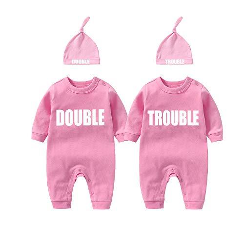 culbutomind Baby Zwillinge Baby Bodys Doppel Ärger süßes Outfit mit Hut Baby Pyjamas Zwillinge Geschenk(Rosa 3M)