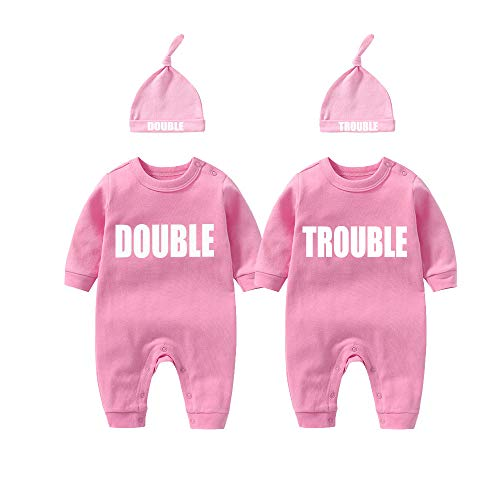 culbutomind Baby Zwillinge Baby Bodys Doppel Ärger süßes Outfit mit Hut Baby Pyjamas Zwillinge Geschenk(Rosa 6M)