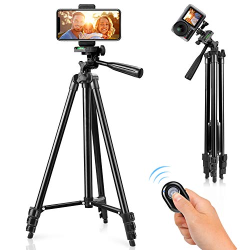 "Phone Tripod, 51"" Tripod for iPhone Cell Phone Tripod with Phone Holder and Remote Shutter, Compatible with iPhone/Android, Perfect for Selfies/Video Recording/Vlogging/Live Streaming"