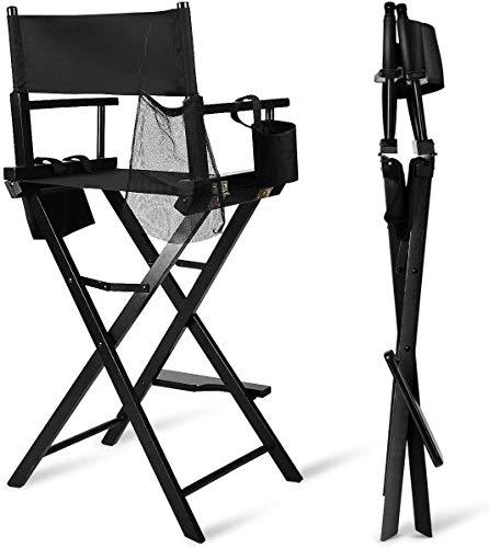 Mulple Portable Make-up Stuhl, Klappbar Regiestuhl aus Holz mit Seite Taschen, Campingstuhl, Malerstuhl, Klappstuhl Hochstuhl aus Holz