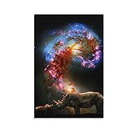 動物Rhinocerosアニメポスター装飾絵画キャンバスプリントアート画像寝室の壁の装飾絵画08x12inch(20x30cm)