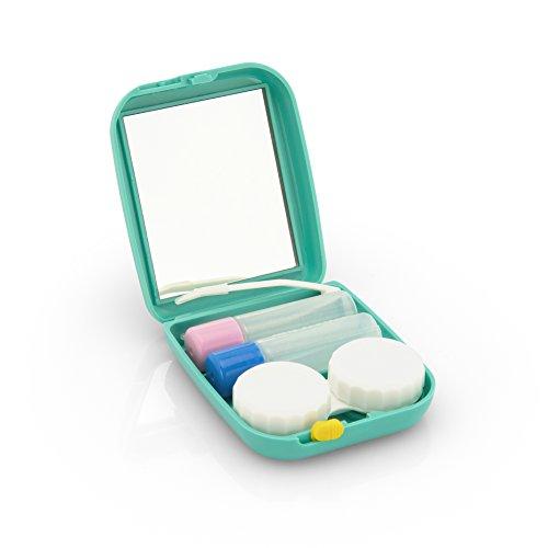 Spiegelbehälter Travelkit von LENZERA, Kontaktlinsenbehälter zur Aufbewahrung, ideal für Reisen