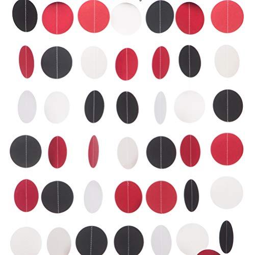 MOWO Paper Garland Circle Dots Hanging Decor, 2.5'' in Diameter,10-feet (Black/red/White, 2pc)