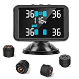 Tymate Tire Pressure Monitoring System-Large Colorful Screen, 4 Alarm Modes, Flexible Charging Method, Two Convenient Installations, with 4 Advanced External Tmps Sensor (0-6 Bar/0-87 psi)