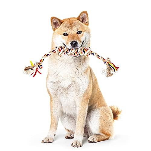 Nobleza - Cuerda de Juguete para Perros 100% Algodón Natural, Indestructible Interactuar Juguete, Mantiene Las Encías Saludables, Calidad Duradera Apto para Perros medianos y Grandes - 43cm/16.9in