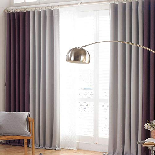 Zshhy Leinen Pull Plissee Tape Vorhänge für Wohnzimmer Fenster Vorhang Stoffe Blackout Küchentür Schlafzimmer Cortina Vorhänge W200XH270cm-grey_and_purle