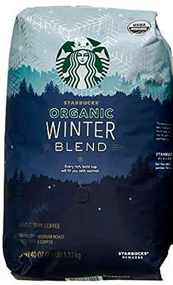 Starbucks Organic Coffee Winter Blend Whole Bean Medium Roast Arabica, 40 Ounce