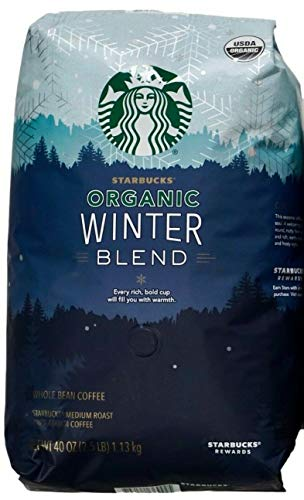 Starbucks Organic Coffee Winter Blend Whole Bean Medium Roast Arabica, 40 Ounce