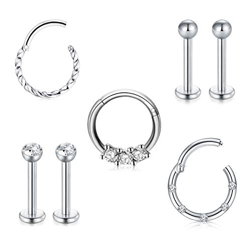 LAURITAMI 7pcs Cartilage Helix Hinged Ring Hoop Studs Earring Septum Clicker Surgical Steel 8mm 16G CZ Tragus Piercing Jewellery