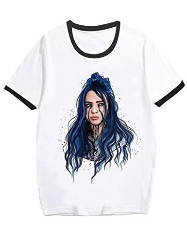 Camiseta Billie Eilish Mujer, Camiseta Billie Eilish Niña Unisex Impresión Ringer T-Shirt Manga Corta Abecedario Impresión T-Shirt Regalo Camisa Verano Niño Camisetas y Tops