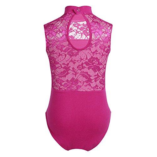 iixpin Kinder Mädchen Ballettanzug Ärmellos Body Trikot Leotard Gymnastikanzug in China Etuikleid Stil Rose Rot 158-164/13-14 Jahre