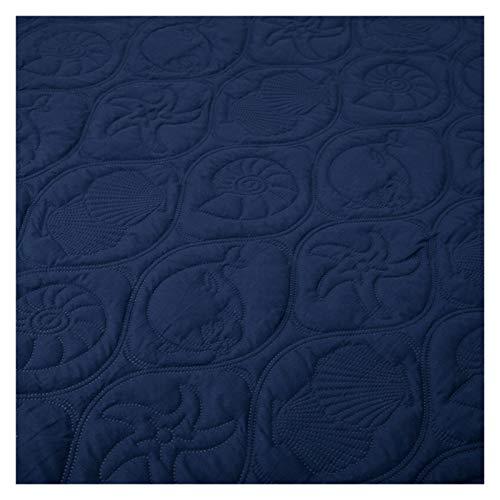 RHBLHQ Sábana Monocromo en Relieve Impermeable colchón Protector Estilo sábana Cubierta colchón colche Grueso Cama tapizada (Color : Navy Blue A, Size : 135X190X30cm)
