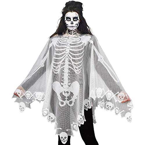JunMu White Lace Skeleton Poncho, 60 x 60 inches Halloween Poncho for Women, Heritage Lace Poncho, Halloween Costume for Women Girl