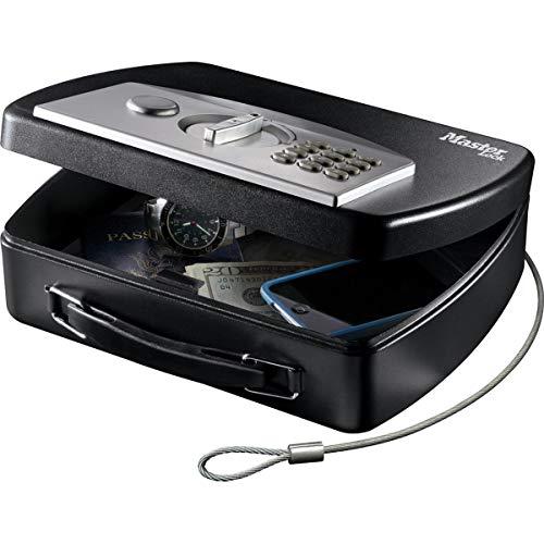MASTER LOCK Tragbarer Tresor [Zahlenschloss] [mit Kabel] P008EML - Ideal für Elektrogeräten, Ausweispapieren, Bargeld und mehr