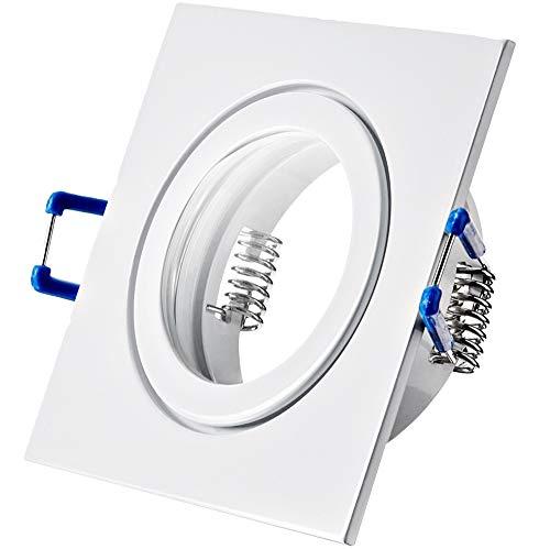 1 x Bad Einbaustrahler 230V inkl. GU10 Fassung Farbe Weiß IP44 Einbauleuchte Neptun Eckig Deckenspot