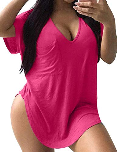 Allegrace Womens Casual Scoop Collar Plus Size T Shirts Summer Tops Tee Rose Red XL