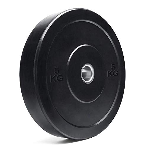 TTCZ 2-Inch Barbell Bumper Plates| Olympic Bar Bumpers Plates Pair for Weightlifting Crossfit Training| 2'' Steel Ring Insert, Available in 5KG/10KG/15KG/20KG/25KG-One Pair (A-5 KG/11 LB)