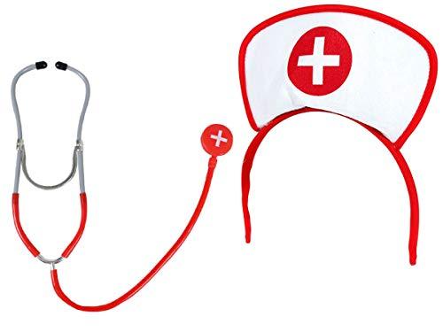 Alsino Krankenschwester Outfit (Kv-55) Kostüm Fasching Weiber Fastnacht mit Haube und Stethoskop