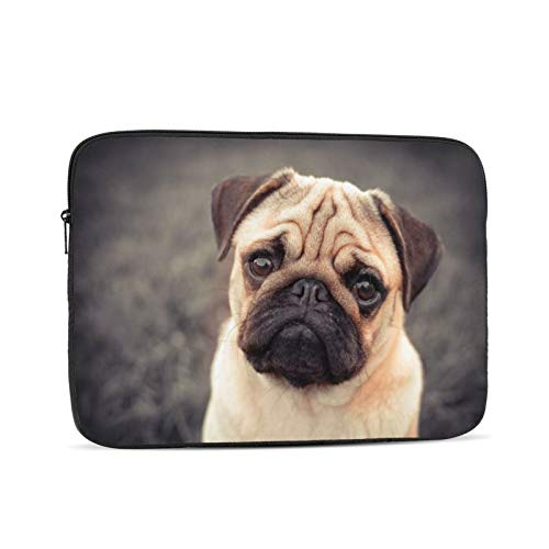Laptop Sleeve Bag Love Pug Dog Portable Zipper Tablet Cover Bag Notebook Computer Protective Bag,Black