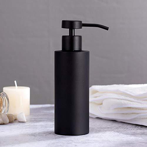Dispensador de jabón de acero inoxidable, botella dispensadora de jabón, botella de loción de bomba de metal de mano, gel de ducha, botella de champú para baño, dormitorio y cocina, color negro mate