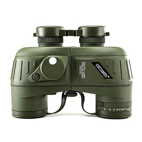 WYLDDP 10X50 Militaire Verrekijker voor volwassenen, HD Telescoop met Navigatie Kompas en Rangefinder,BAK4 Prism FMC Lens Geschikt voor Jacht, Cross-country en Reizen