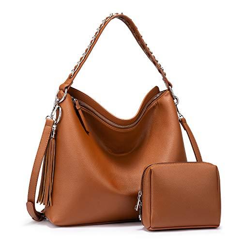 LOVEVOOK Handtaschen Damen Gross Lederimitat Umhängetasche Schultertasche Kunstleder Mit Quasten Designer Tasche Hobo 2er Set kleine Kosmetiktasche Braun