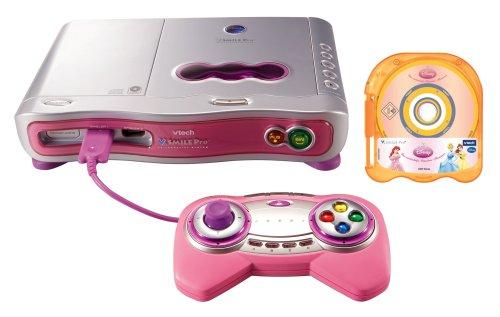 Vtech 80-070054 - V. Smile Pro Lernkonsole pink inkl. Lernspiel Disney Prinzessinnen und CD Player