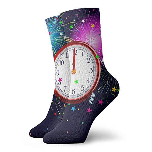新年の時計メンズとレディースのファッションパターンスポーツソックス30cm