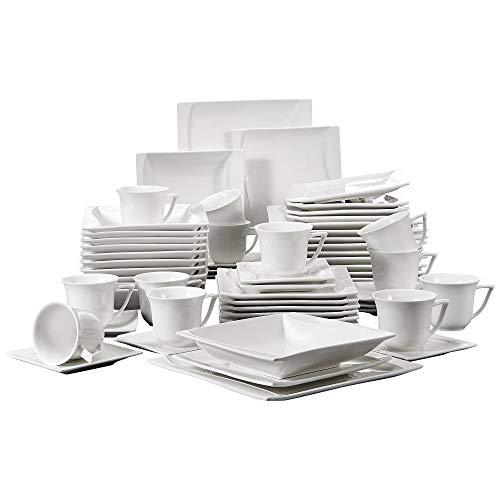 MALACASA, Série Carina, 60pcs Services de Table Complets Porcelaine, 12pcs Assiettes Plates, 12 Assiettes Creuse, 12 Assiettes à Dessert, 12 Tasses avec 12 Soucoupes pour 12 Personnes Vaisselles