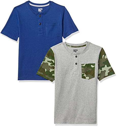Amazon Brand - Spotted Zebra Kids Boys Short-Sleeve Henley T-Shirts, 2-Pack Camo/Navy, Large