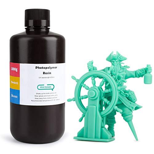ELEGOO LCD UV 405nm ABS-Like 3D Printer Resin Rapid 3D Resin for LCD 3D Printer 1000g Photopolymer Mint Green