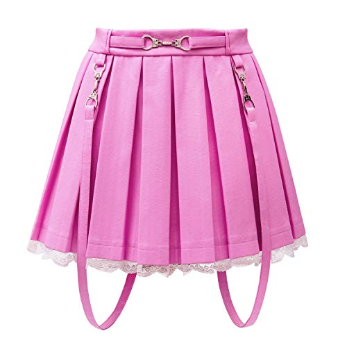 LittleForBig De Línea Minifalda Plisada Cuero Falso Acampanada Casual Puntilla-Troublemaker