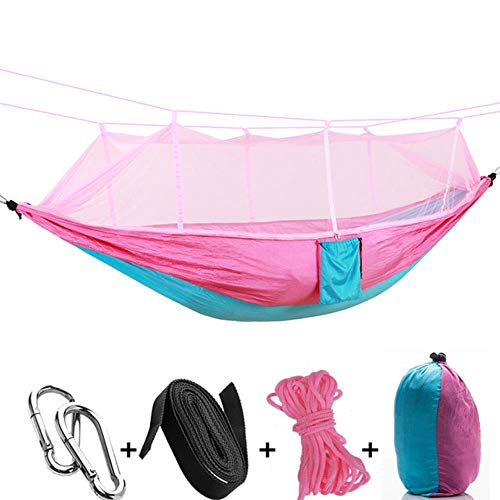 Ltong Hangmat met klamboe Tuinmeubilair 2 persoons draagbaar hangbed Sterkte Parachutestof Slaapschommel, roze blauw