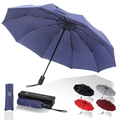 Tinya Windproof Auto Travel Umbrella: Men Women 8 & 10 Sturdy Large Strong Rib Durable Compact Portable Small Lightweight Folding Best Mini Collapsible Automatic Open Close Backpack Rain Umbrellas