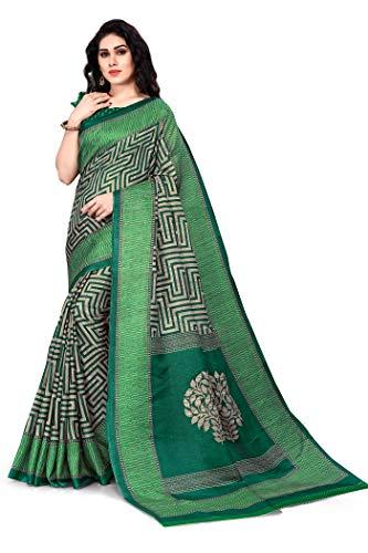 Sourbh Texture Prints Sari für Damen mit Blusenteil - Gr�n - Einheitsgröße